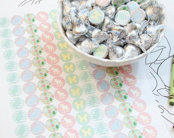 Easter Hershey's Kiss Stickers, 2 sheets of 108 stickers
