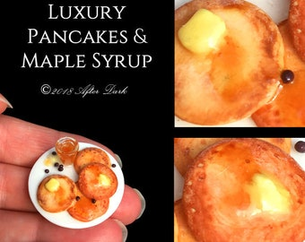 Luxury Pancakes & Maple Syrup  - Dolls House Food in 12th scale. From After Dark miniatures.