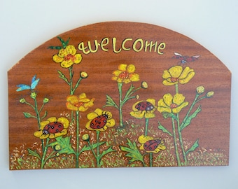 Acrylic painting on wood: type welcome:coccinelles on flowers