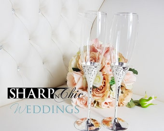 Wedding Champagne Toast Glasses - Crystal Cluster of Diamonds