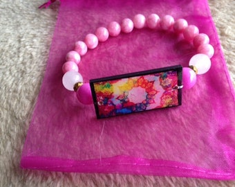 Bohemian pink and white jade bracelet