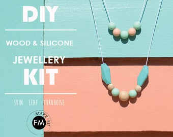 Jewellery Kit//Gifts for Her//Party Game//Party Activity//Silicone beads//wood beads//kit/skin/leaf green/turquoise colourway