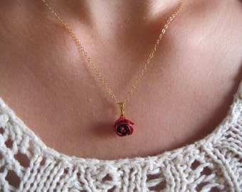 Rose necklace, tiny roses jewelry, small red rose necklace, minimalist  flower necklace, ruby rose necklace, delicate elegant modern jewelry
