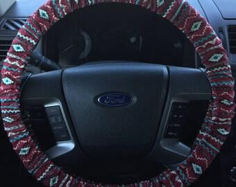 Red Aztec tribal Print Steering Wheel Cover