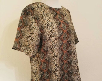 Vintage Snakeskin Print Blouse, Vintage Neutral Blouse, Snakeskin Shirt, Vintage Snakeskin, Vintage Animal Print, Vintage Printed Blouse