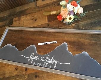 Mountain Wedding Guest Book -  Mountain Wall Art - Unique Wedding Guestbook - Rustic Wedding Sign - Wood Wedding Alternative Guest Book