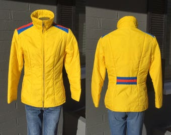 Vintage Yellow Red and Blue Ladies Medium Puffer Jacket Ski Eighties 1980s Winter Coat Large Color block Striped