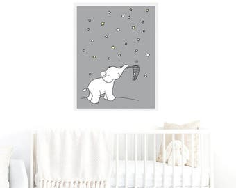 Elephant Printable Nursery Art,Elephant Nursery Decor,Elephant Baby Art,Star Nursery Art,Elephant Boys Nursery,Elephant Girls Nursery,