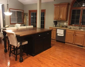 Kitchen Island with Walnut Top and Large Seating Area