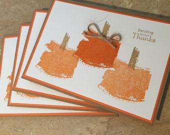 Set of 4 Thanksgiving Pumpkin cards
