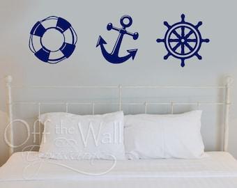 Nautical wall vinyl decal - ship wheel, anchor, life preserver vinyl decals - beach decor