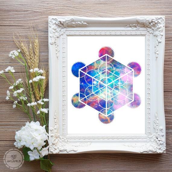 Hexaedro geometría sagrada Digital descargar imprimir Galaxy