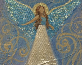 "Spiritual Angel Glitter Shine Original signed Acrylic Painting square 4""x 4""x 1.5"""