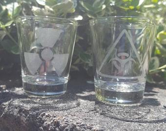 Fallout Ionizing Radiation & Biohazard shot glass