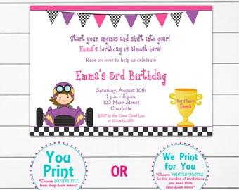 Girl Racecar party birthday invitation -- racing birthday party - race cars - race car