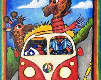 Giraffe art print, Art Print, Wall Hanging, Art Decor, nursery decor, kids room art, kids room decor, nursery wall art, baby gift, fun, VW