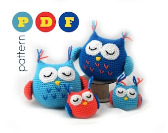 PDF Amigurumi owl family pattern. Small and large owl crochet pattern. Instant download file.