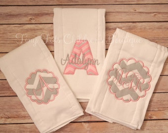 Baby Personalized Burp Cloth Set - Set of 3 Embroidered Monogrammed Baby Girl Burp Cloths - Newborn - Baby Shower Gift - Baby Girl - Custom