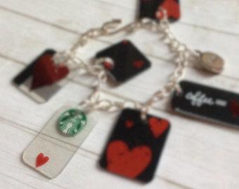 upcycled starbucks valentine's day bracelet
