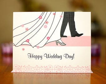 Runway Wedding - Pink and Black Congratulations Card on 100% Recycled Paper