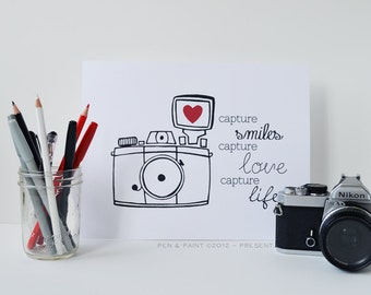 Capture Smiles Capture Love Capture Life, Black and White 8 x 10 Art Print, Camera, Photography, I love photography, Gallery Wall, Family