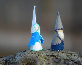 Winter travelers set of two blue waldorf gnomes, handmade natural toys, peg dolls, waldorf inspired toys