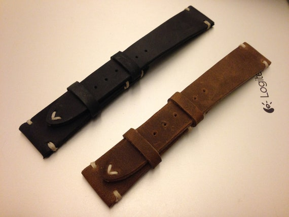 Leather watch band, Brown watch band, Leather watch strap, Combo set watch band, Brown, Black watch band for 19mm, 20mm lug, FREE SHIPPING