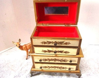 Vintage Florentine Music Box Deluxe Jewelry Chest Hand Painted Ecru Gold Pull Out Drawer Somewhere My Love Boudoir Bride Treasures, Gilded