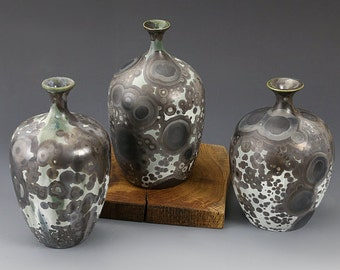 "Set of Three vases - Crystalline Glaze - ""Green Milky Way"""