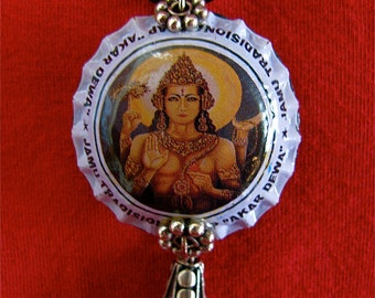 Recycled Bottle cap Vishnu necklace with silver and glass beads