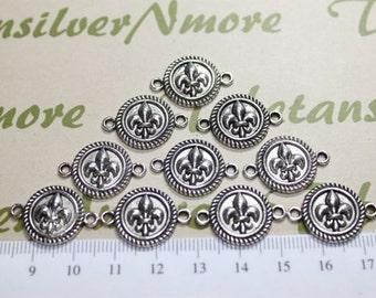 12 pcs per pack 14mm Fleur De Lis Coin Link in antique Silver Lead Free Pewter