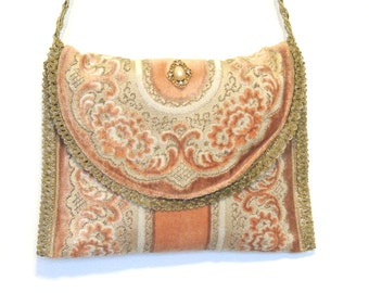 Bohemian Chic bag, Shoulder Bag, Gypsy Bag, Up cycled purse, Cut Chenille purse, Tapestry purse