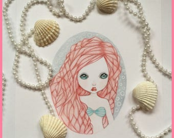 Original art little mermaid fantasy lowbrow art