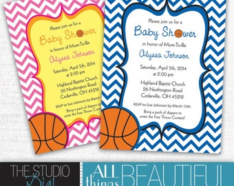 PRINTABLE Cute Chevron Basketball Themed Baby Shower Invitations