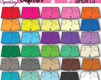 Rainbow Clipart, Shorts Clipart, Clothing Clipart, Pants Clipart, Clothes Clipart, Summer Clipart, Spring Clipart, Outfit Clipart