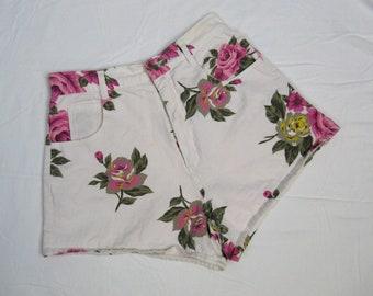 Vintage 1980s Rose Print Cotton Shorts 80s Shorty Cotton Pinup Shorts Size M 28 Waist