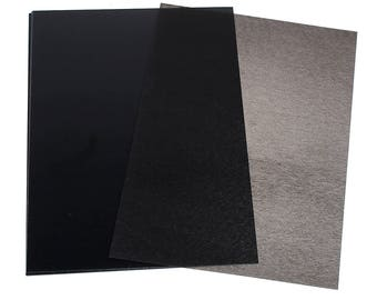 Set of 3 sheets of shrink plastic 29 x 20 cm - black