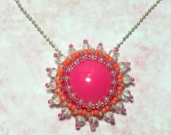 Pink Beaded Cabochon Pendant Necklace