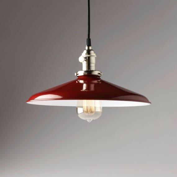 Red Industrial Chandelier: Pendant Light Fixture 12 Red Vintage Industrial Shade