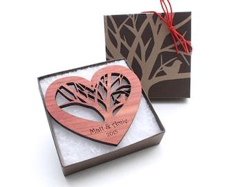5th Anniversary Gift - Wood Heart Ornament