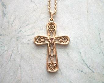 "Vintage Signed Sarah Cov Cross Pendant Necklace,Red pink rhinestone,filigree,gold tone,18"",petite,Catholic,Religious,Christian"