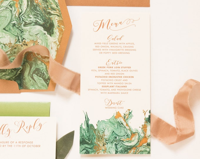 4x8 Marbled Watercolor Emerald Green & Copper Printed Wedding Menu