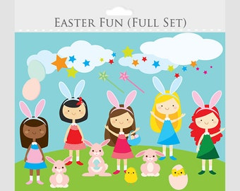 Easter clipart - girls, party clip art, bunny, chicks, rabbits, eggs, bunnies, for personal and commercial use