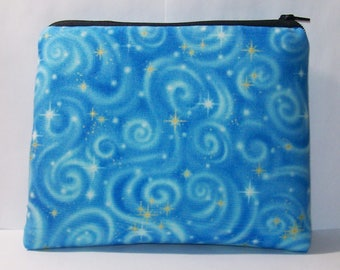 "Padded Pipe Pouch, Blue Sky Bag, Glass Pipe Case, Pipe Bag, Glass Pipe Cozy, Smoke Accessory, Stoner Gift, Zipper Pouch, 7.5"" x 6"" - X LARGE"