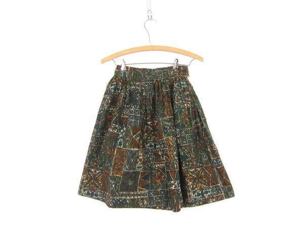 Cotton Skirt Ethnic Batik Print Garden Skirt Brown &  Blue Vintage 1960s Children's Spring Skirt High Waist Skirt Girls Childs 23 inch waist