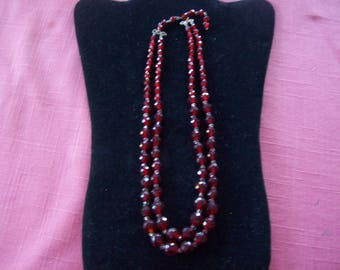Reduced On Sale Ruby Red Crystal Beaded Vintage Necklace, Vintage Ruby Red Necklace