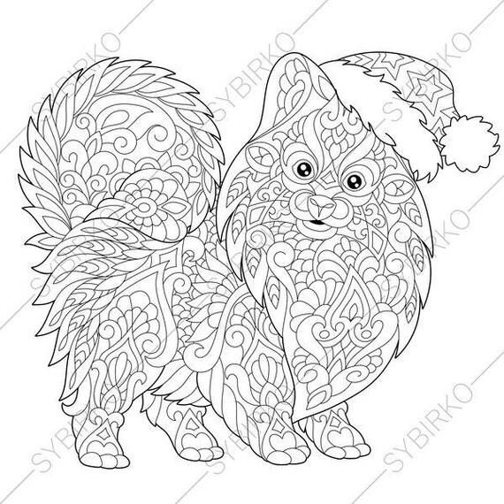 Pomeranian Spitz Dog. Terrier in Santa Hat. Coloring Pages.