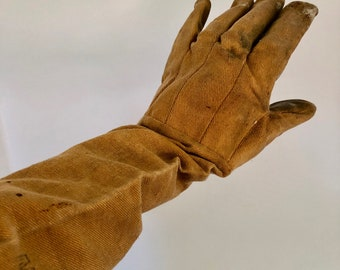Vintage Beekeeper Gloves Elbow Length Heavy Cotton Apiarists Bees