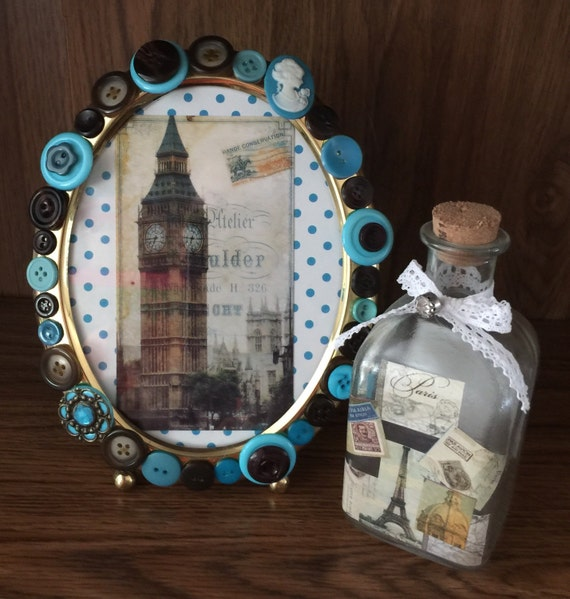 OOAK 5x7 Oval Brass Picture Frame, Hand Decorated with Vintage ...