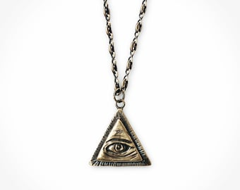 All Seeing Eye Pendant w/ Anchor Chain. Brass Illuminati Necklace. Unisex Jewelry. Occult Jewelry. Eye Jewelry. Eye Necklace. Gifts for Him.